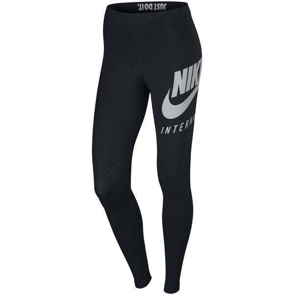 Nike International Legging ($61) ❤ liked on Polyvore featuring pants, leggings, black, nike leggings, elastic waistband pants, nike, sports trousers and sport leggings
