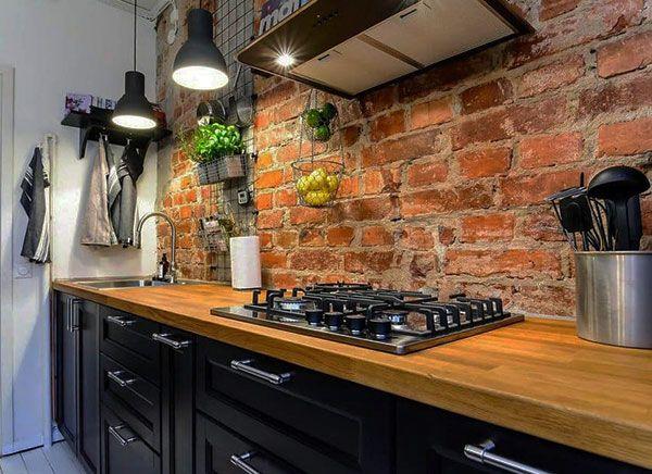 Картинки по запросу кухня без верхних шкафов лофт