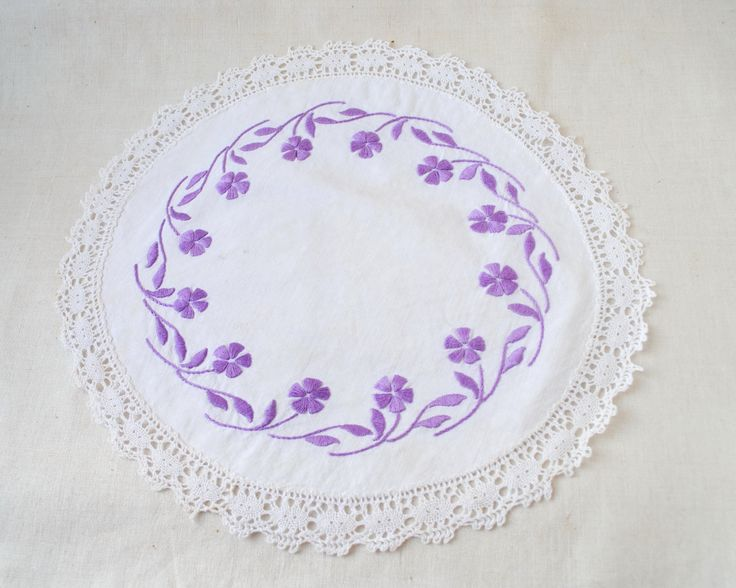 Embroidered crochet doily Vintage cotton round crochet tablecloth decor lace centerpiece by Klaptik on Etsy