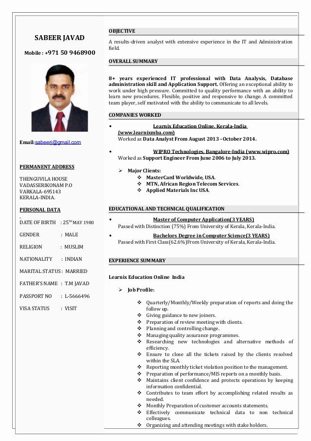 It Support Technician Resume Elegant Sabeer 8 Yrs Of Experience It Support Engineer Cv It Support Technician Supportive Resume
