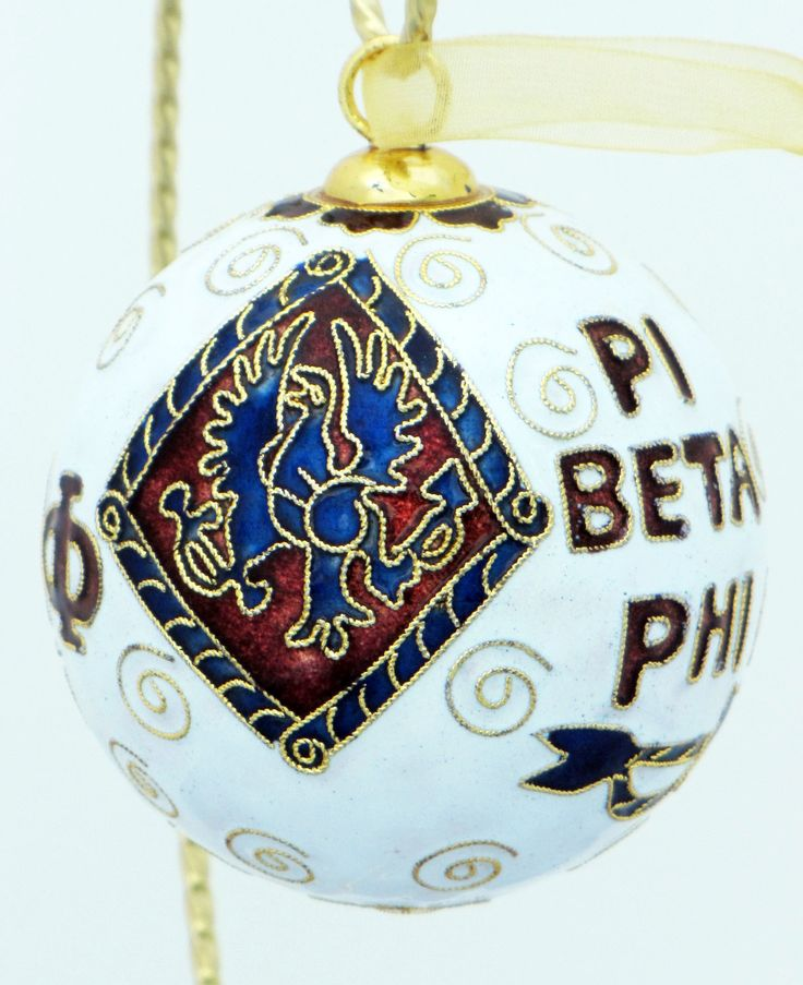 Officially licensed Phi Beta Phi, handcrafted, 24k gold plated cloisonne ornament - www.KittyKeller.com