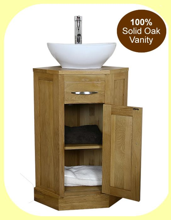 corner vanity | Details about Oak Corner Bathroom Vanity Unit Small Cloakroom Sink