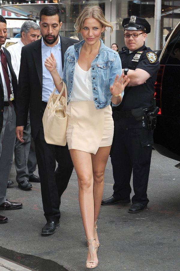 cameron diaz denim jacket street style
