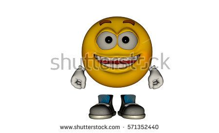 one yellow smile guy with the face and boots. Open-Mouthed. 3D rendering, 3D illustration