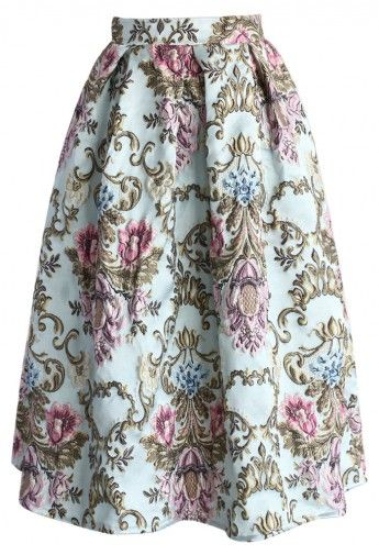 My Fair Lady Baroque Embroidery Midi Skirt: perfect for Christmas
