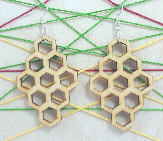Hexagon wooden earring - jewelry - laser cut - light weight - bridal earring - for woman - fashion - rings - pairs -