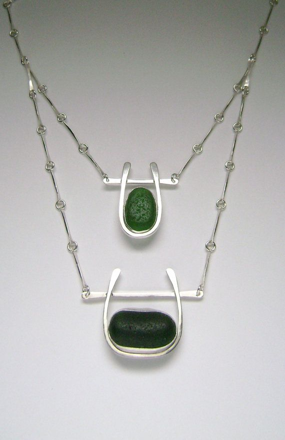 Sea Glass Jewelry  Sterling Green Sea Glass by SignetureLine, $250.00