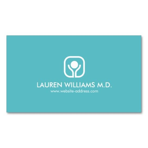 Health And Wellness Logo On Aqua Business Card Business Cards For