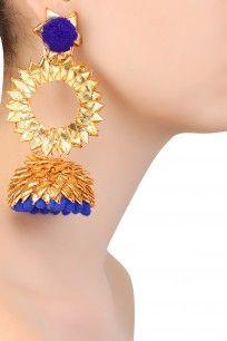 Golden and Blue Pom Pom Detail Jhumki Earrings #gotta #ribbon #earrings…