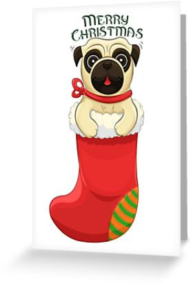 Christmas Pug Greeting Card by AnMGoug on Redbubble. #pug #card #Christmas #dog