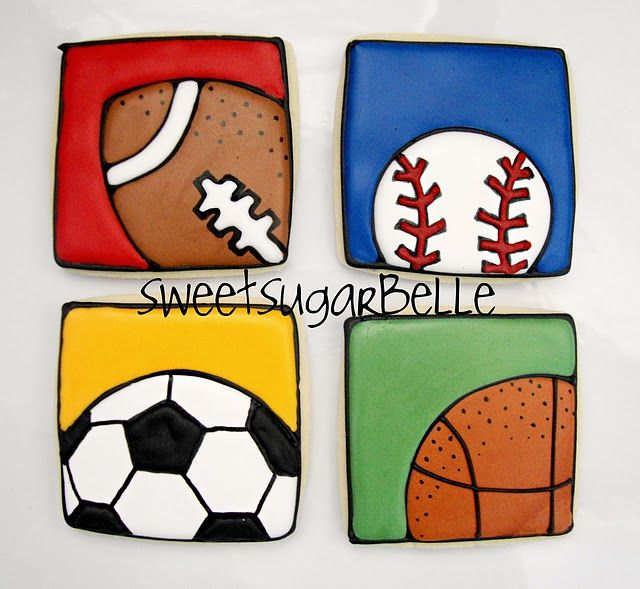 LOVE these square sports cookies by @SweetSugarBelle {Callye Alvarado}!