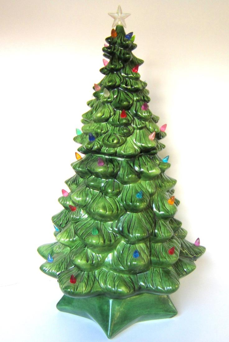 Small plastic lights for ceramic christmas trees - X Large Vintage Lighted Ceramic Christmas Tree