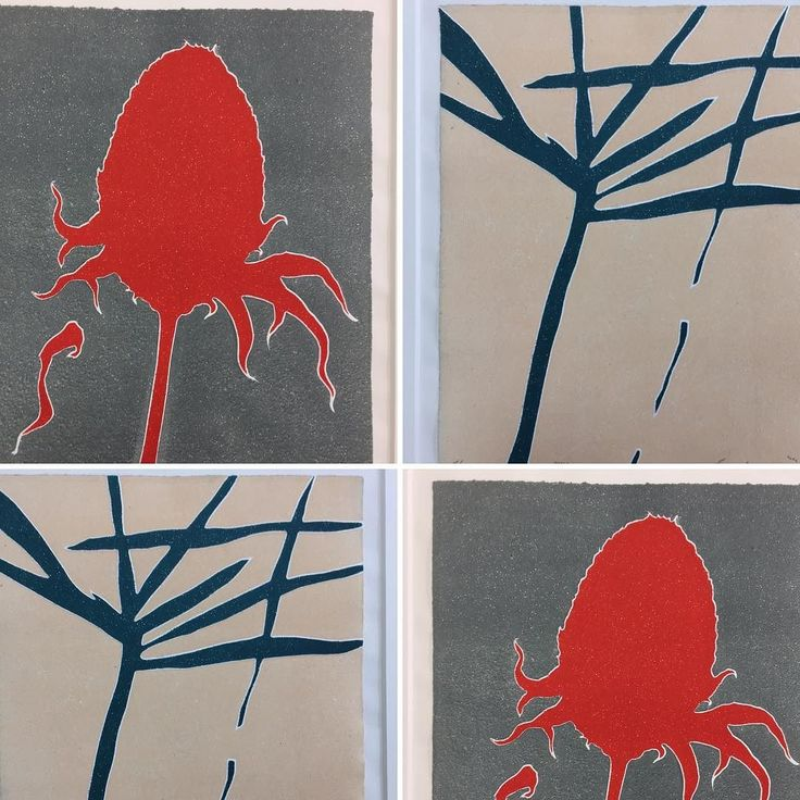 New Linocuts from Dreipunkt Artist Clemens Büntig strong colors and deep embossing create a special visual experience especially when lit from the side. Title: LOSS and NAKED UNIVERSE#dreipunkt#nature#embossing#plants#originalwork#printmaking#artwork#red