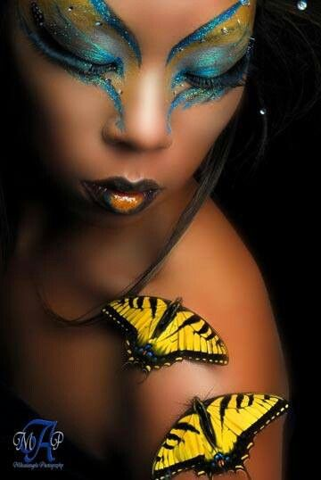 Bold fashion makeup love the colours they compliment this darker skin tone so well
