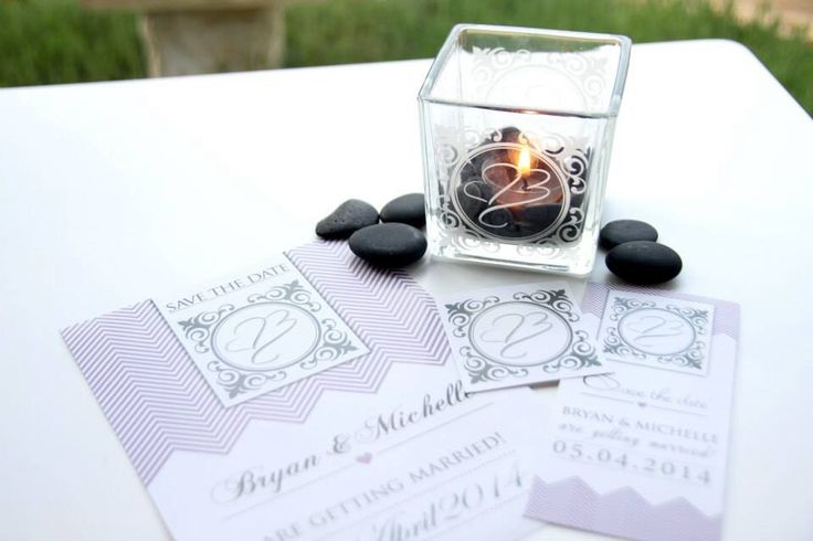 Save the date with magnets and t-light holder with logo laser cut on.