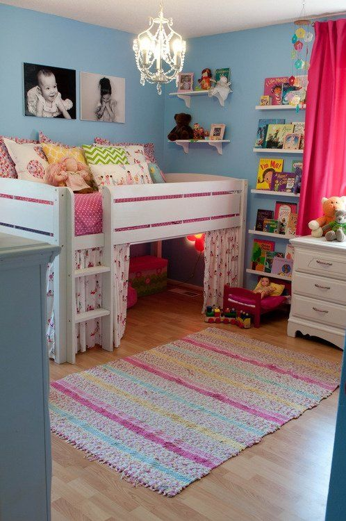 Love this idea for a split bedroom %u2013 blue (or green) paint so one half could be girly (pink curtains) and the other half could have a boys color scheme/green curtains%u2026