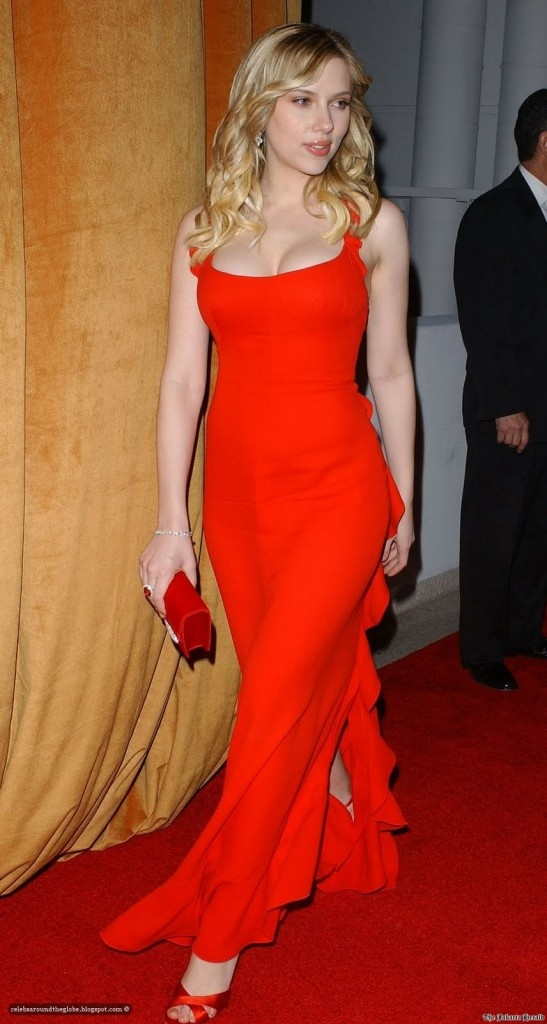 Scarlet Johansson. THE RED DRESS. Simple red floor-length dress ...