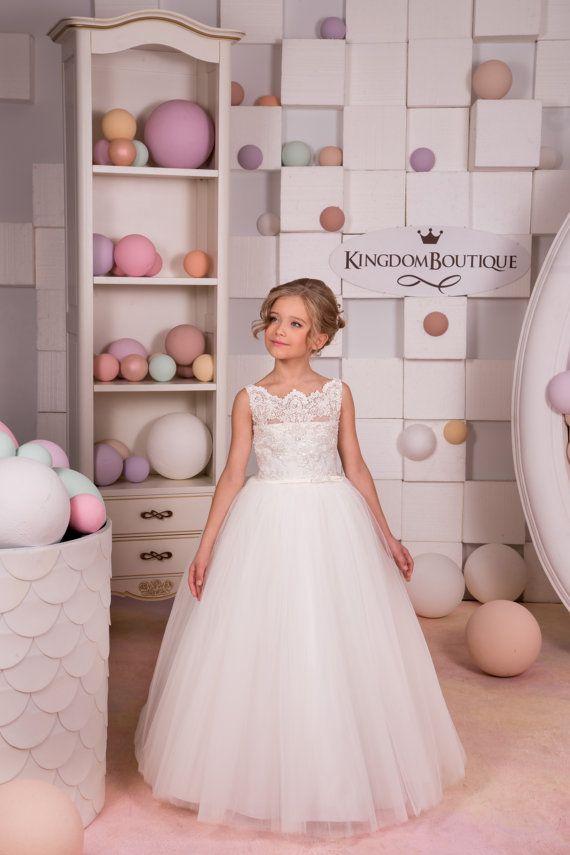 Ivory Lace Flower Girl Dress Wedding Party от KingdomBoutiqueUA