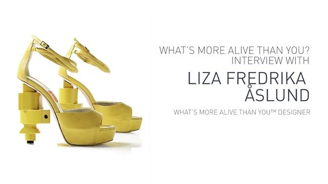 "Interview with Liza Fredrika Åslund, WHAT'S MORE ALIVE THAN YOU™ #designer. She has sketched ""Recycle #Shoes"".  #Video: https://vimeo.com/50355507"