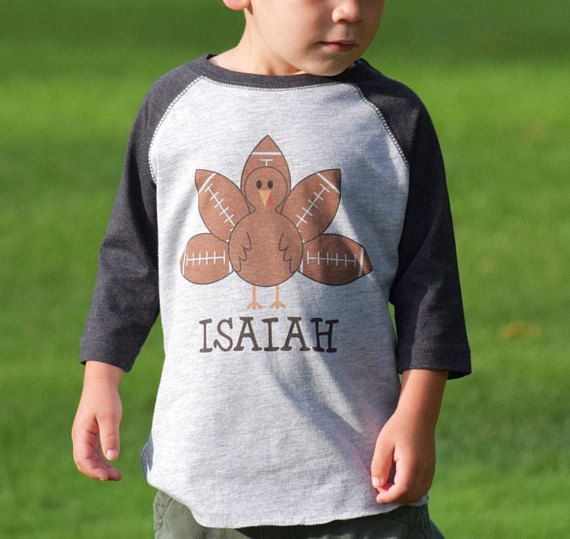 PERSONALIZE THE NAME  Thanksgiving Turkey Football Baby One
