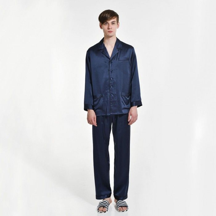 Mens Pure Silk Long Pajamas Set Shirt And Pants - OOSilk #silk #sleepwear #nightwear #dressinggown #robe #bathrobe #tops #shorts #pants #trousers #bottoms #pajamas #pjs #set #silky #soft #comfort #breathable #smooth #onlineshopping #women #female #sleep #fashion #womenfashion #ladies #camisole #nightshirt #chemise #nightgown #nightdress #nightie #slip #dress #bedroom