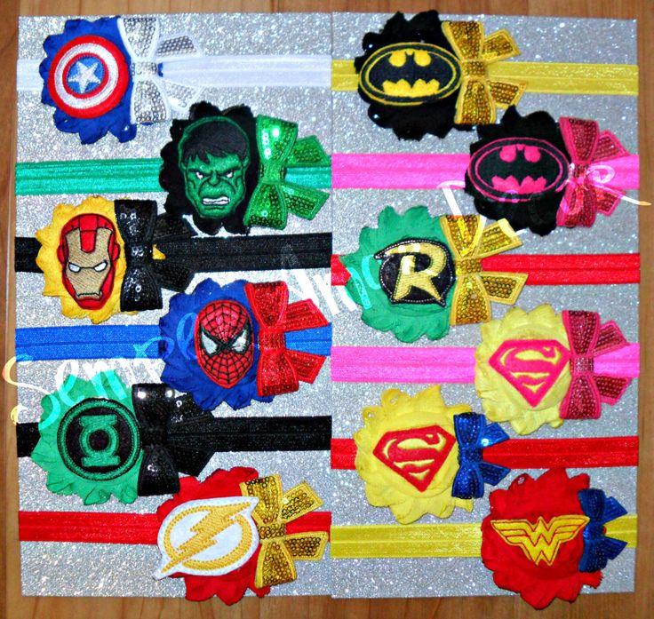 Superhero Headbands, Marvel Headband, Detective Comics Headband, Batman Headband, Superman Headband, Wonder Woman Headband, Spiderman Bow by SemperAmorDecor on Etsy https://www.etsy.com/listing/236372364/superhero-headbands-marvel-headband