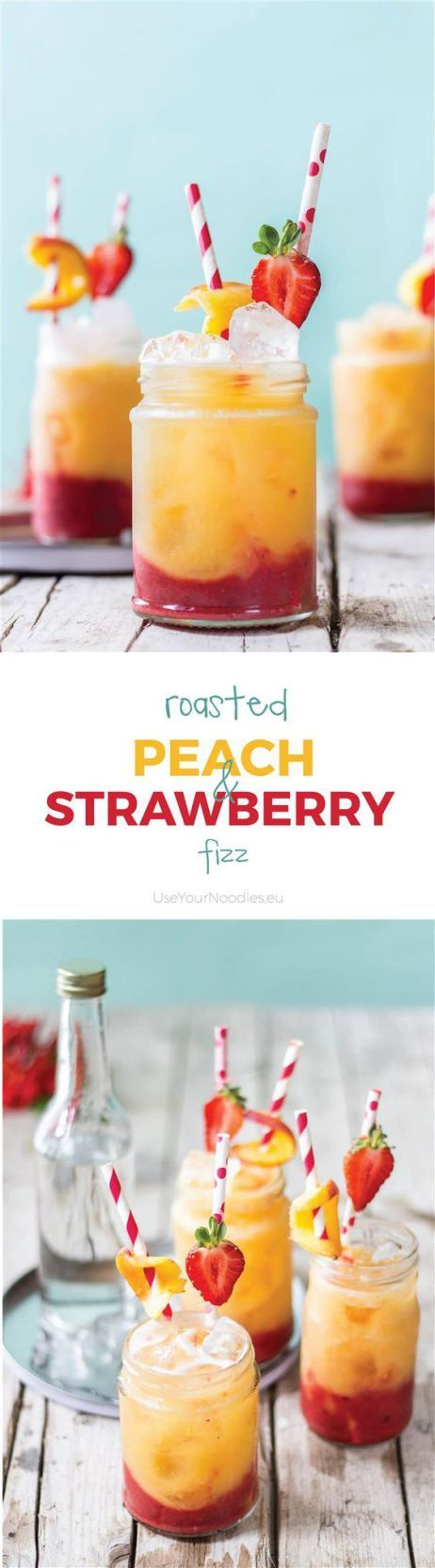 Roasted Peach and Strawberry Fizz Non Alcoholic Party Drinks Recipe via Use Your Noodles - Delightful spring mocktail - roasted peach and strawberry fizz with no added sugar! The BEST Easy Non-Alcoholic Drinks Recipes - Creative Mocktails and Family Friendly, Alcohol-Free, Big Batch Party Beverages for a Crowd!