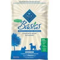 Grain-free BLUE Basics is a limited-ingredient diet formulated to minimize food sensitivities that some dogs experience while maximizing the nutritional value they receive. BLUE Basics contains:* Turkey - The first ingredient is a high-quality protein not typically used in dog food.* Potatoes and Peas - Easily digestible carbohydrate sources.* A Precise Blend of Veggies, Fruit and Micronutrients - Selected for their nutritional value and their capacity to help ...