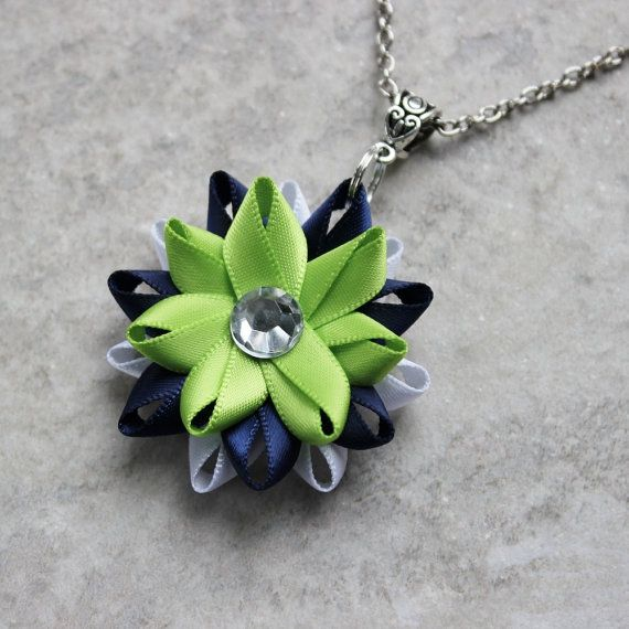 Seattle Seahawks Necklace ~ Seahawks women's gear in ribbon colors of bright green, blue and white. A great gift idea for a sports fan or to show your team spirit!
