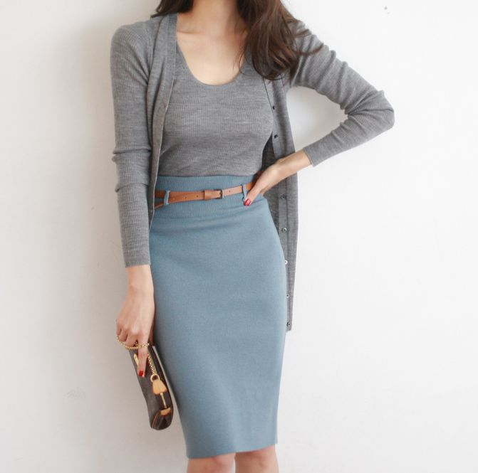 Soft blue & gray. Great business casual - looks smart & feels comfy