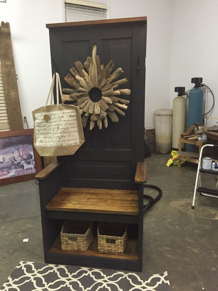 Vintage Hall Tree Made From Old Farm House Doors