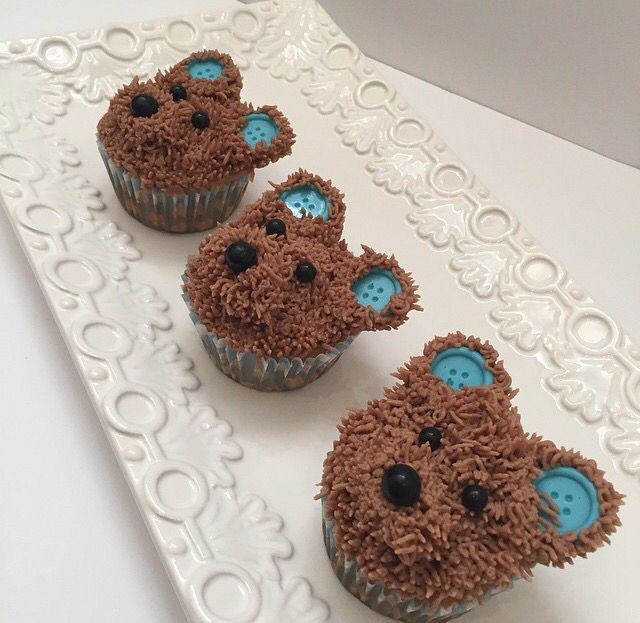 Teddy bear cupcakes perfect for baby shower