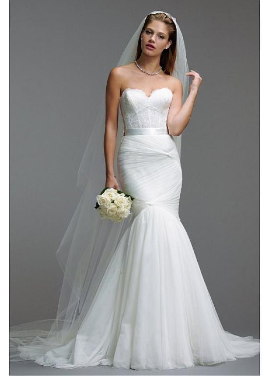 Magbridal Alluring Tulle Sweetheart Neckline Natural Waistline Mermaid Wedding Dress