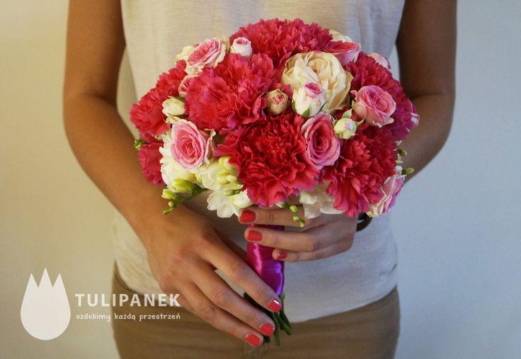 różowy amarantowy bukiet ślubny