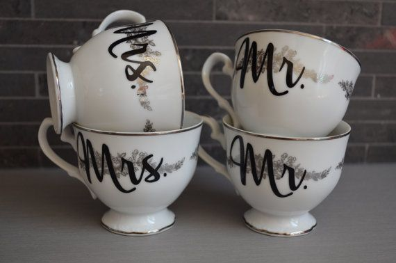 Vintage Teacups Mr. and Mrs./ Mr. and Mr. / by bostoninachinashop