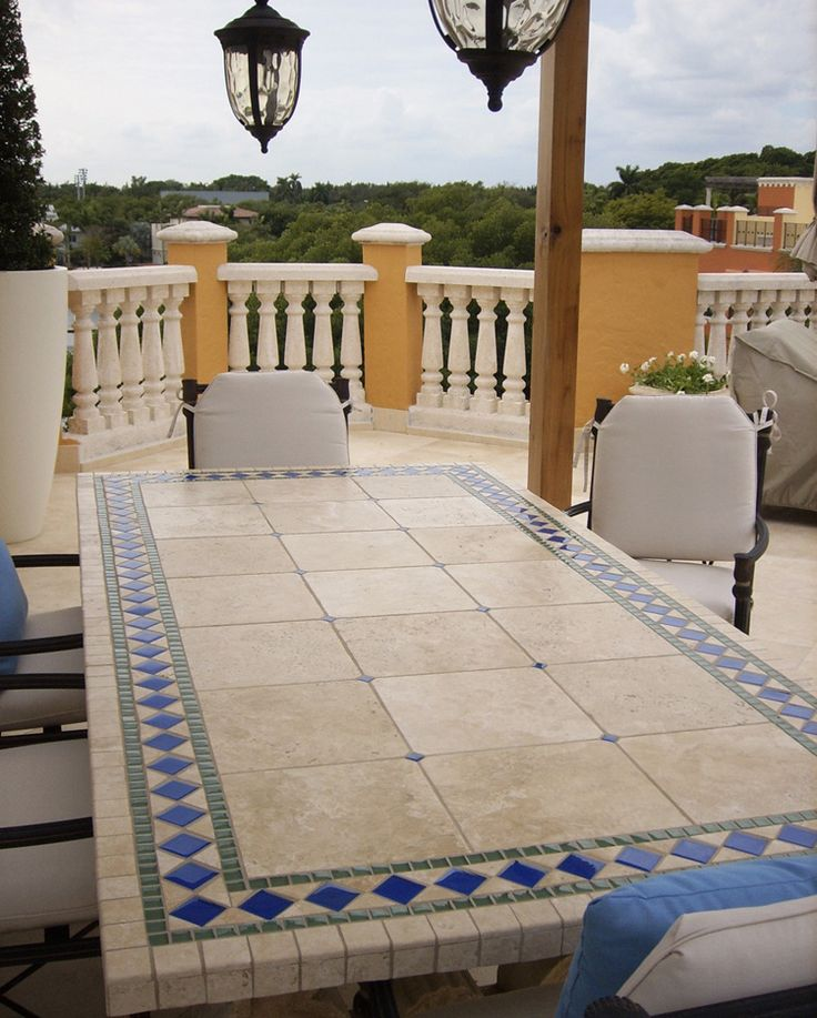 Oceanica Stone Tile Table Top (Table Top Design)