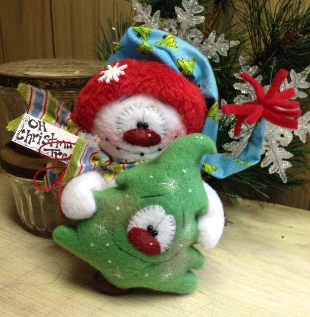 Primitive Hc Raggedy Snowman Snowflake Christmas Tree
