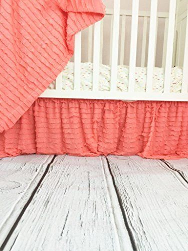 Light Coral Ruffle Crib Skirt Baby Girl Nursery Crib Bedding Shabby Chic, http://www.amazon.com/dp/B01E0G08NI/ref=cm_sw_r_pi_awdm_4glpxbY8BCSKR