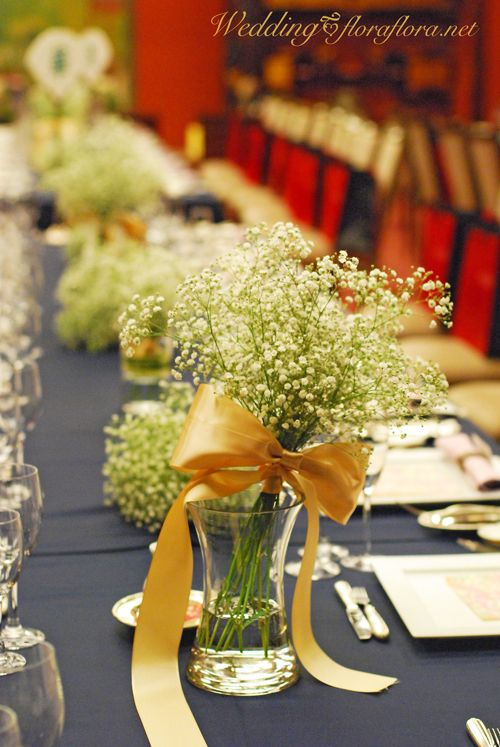 かすみ草のゲストテーブル 夏の野の花のメインテーブル 目黒雅叙園様へ : FLORAFLORA*precious flowers*ウェディングブーケ会場装花&フラワースクール*