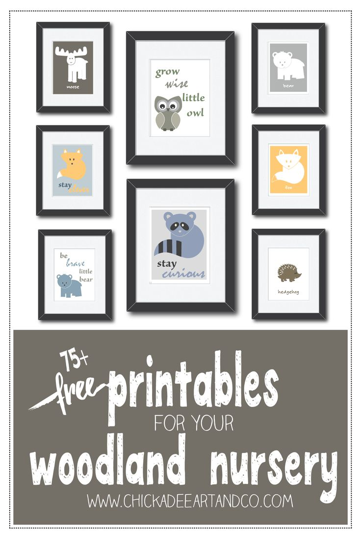 FREE printable nursery art for your woodland nursery and plenty of woodland nursery inspiration courtesy of Chickadee Art and Company.