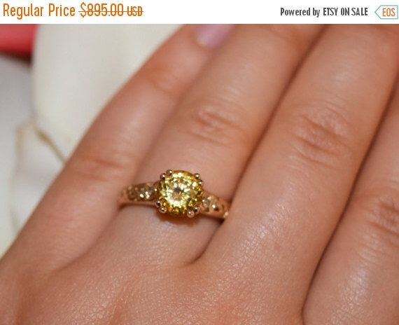 ON SALE Affordable Engagement ring, Unique Engagement ring, Yellow Gold Diamond Ring, Natural Yellow Zircon Ring, Vines and Leaves ring by BridalRings on Etsy https://www.etsy.com/listing/290225343/on-sale-affordable-engagement-ring
