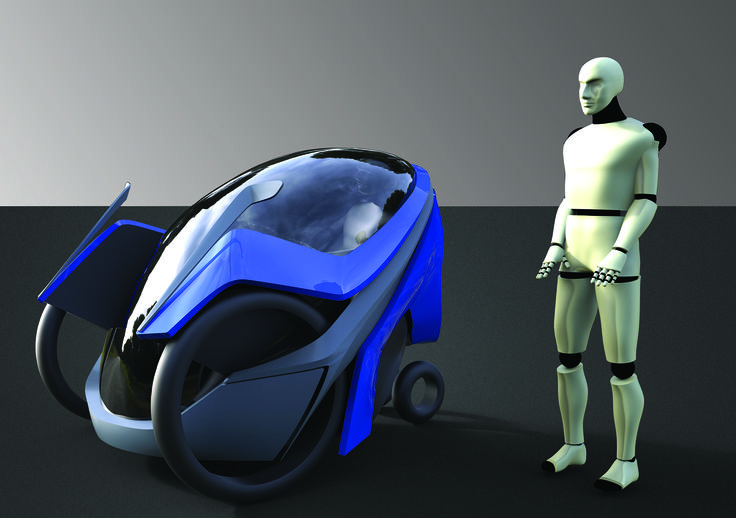 Concept of little car for traveling from village to a city.