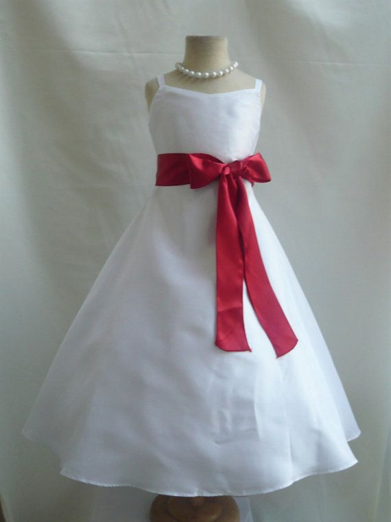 Flower Girl Dresses  WHITE with Red Apple by NollaCollection, $32.99