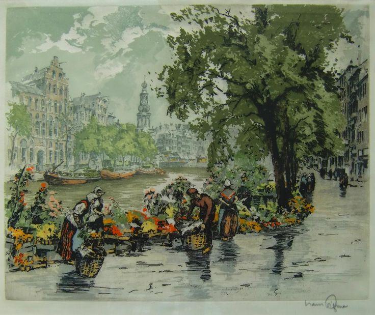 Der Blumenmarkt in Amsterdam. Originale in Farben gedruckte Radierung auf Seide von dem Wiener Grafiker und Maler Hans Figura (1898-1978),