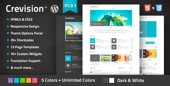 Crevision - Responsive WordPress Theme   http://themeforest.net/item/crevision-responsive-wordpress-theme/3538153?ref=damiamio      Theme Updated to Version 1.3.1 – check Updates Log Now…        Crevision is a creative responsive Wordpress Theme created for corporate and portfolio websites.It is a very simple, clean and professionally to view showcasing your work. 	 If you like this theme, please dont forget to rate it   Under Construction Page  Under Construction Page, you can close site…