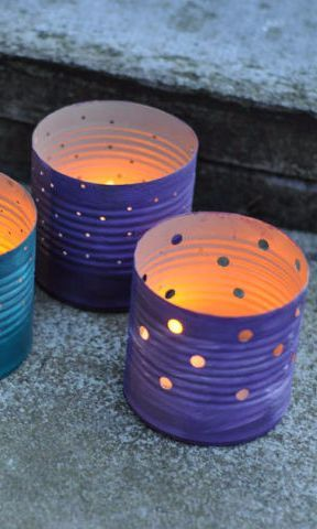 Upcycle regular tin cans into dreamy patio lanterns.