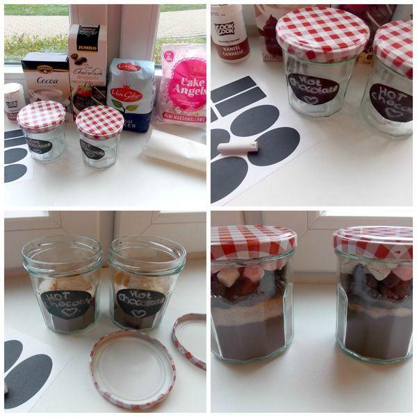 Hot chocolate in a jar // DIY present | Een super leuk kerstcadeau om zelf te maken. Alle ingrediënten voor warme chocolademelk in een potje // A nice home-made Christmas present. All ingredients to make hot chocolate together in a jar.