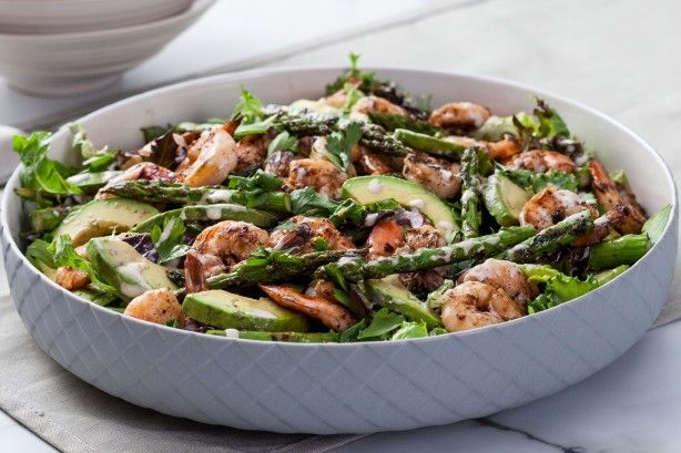 For a Caesar salad with a twist, try this prawn and asparagus combination.