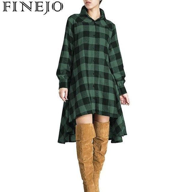 Dress Women Casual Plaid Long Sleeve Button Irregular Hem Shirt Casual Street Outdoor Lantern Winter Dress