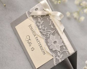 Grey Lace Place Card,  Vintage Tented Place Cards, Lace Escort Card, Name Card, bowl Place Cards